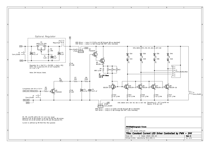 PM490 Constant Current LED Driver Controlled by PWM - Schematic 24V RevC